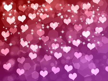 Abstract Valentines day background with hearts and stars photo