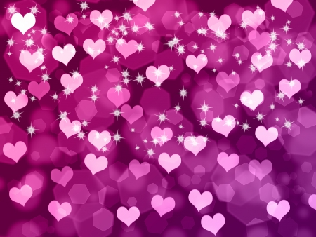 Abstract Valentines day purple background with hearts and stars photo