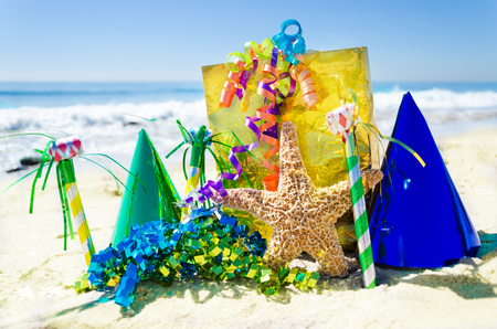 Birthday Decorations On The Sandy Beach By The Ocean Stock Photo