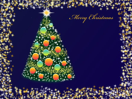 farme: Christmas with tree, balls and frame