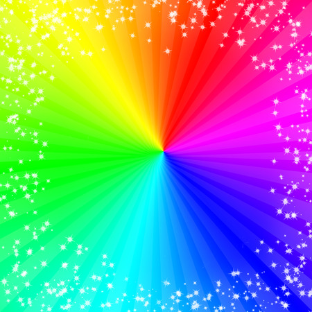 rainbow abstract: Color Holidays background with rays and stars