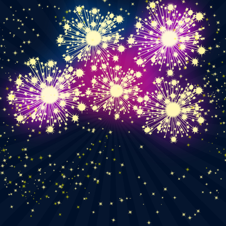 Yellow fireworks on the blue background with bokeh