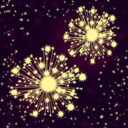 Yellow fireworks on the purple background with stars