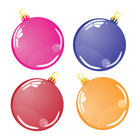 Few Color Christmas balls isolated on white background Stock Vector - 23191071