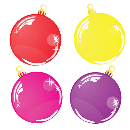 Four Color Christmas balls isolated on white background Vector