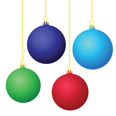 Four Color Christmas balls isolated on white background Ilustrace