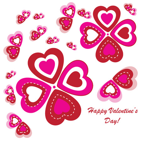 Valentine's background with flower and butterfly from hearts on white phone Vector