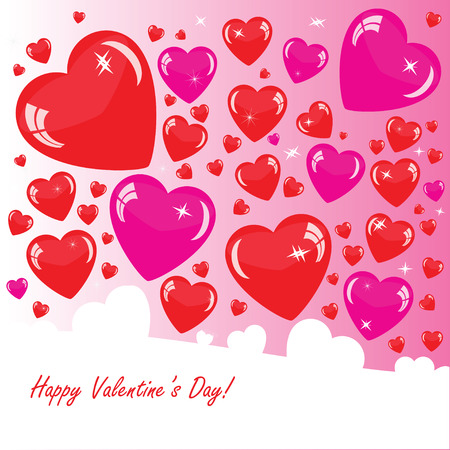 분홍색 전화에 4 개의 하트와 발렌타인의 배경