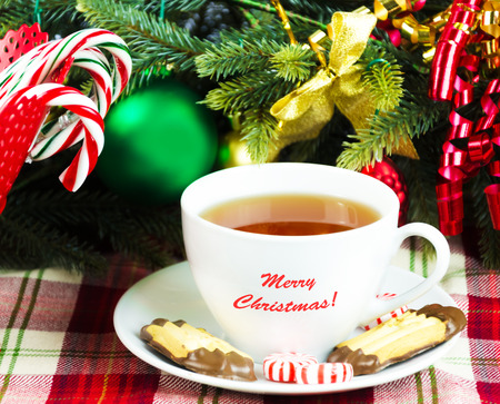 Tea with Christmas candy on holidays  Stock Photo