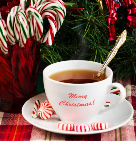 Tea with Christmas candy on holidays  Stock Photo