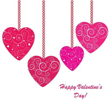 romance: Valentines background with four hearts with ornament on white phone