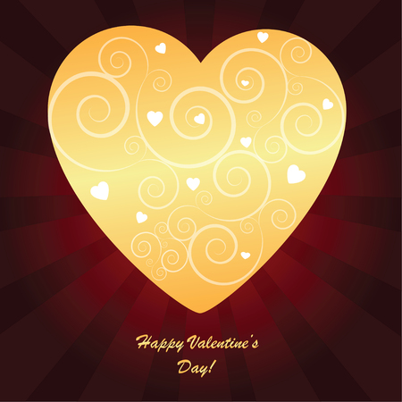 golden heart: Valentines background with big gold heart with ornament on dark phone with rays