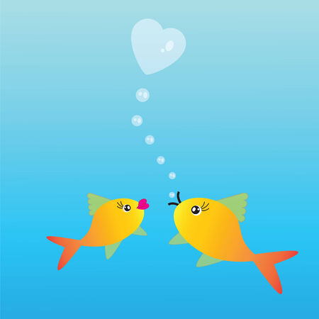 fishes: Abstract background with two fishes and heart on blue phone