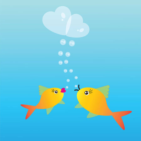 fishes: Abstract background with two fishes and hearts on blue phone Illustration