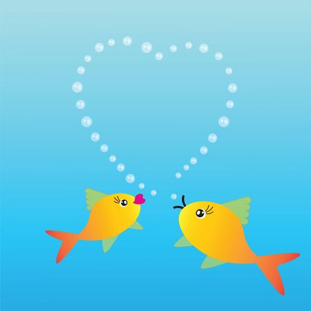 fishes: Abstract background with two fishes and heart on blue phone Illustration
