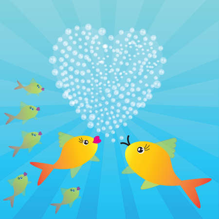 Valentine's background with fishes and heart on blue phone with rays Stock Vector - 23980957