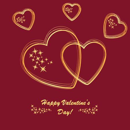 골든 하트와 빨간 전화에 별 발렌타인 배경
