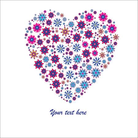 발렌타인의 배경과 흰색에 고립 된 큰 꽃 마음 일러스트