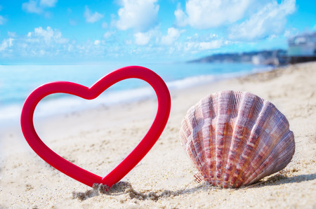 Heart shape and seashell on sandy beach by the ocean in sunny day photo