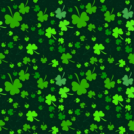 Seamless clover pattern on dark background at Patrick's Day photo