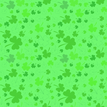 Seamless clover pattern on light background at Patricks Day photo