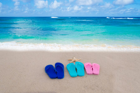 Starfish and color flip flops on the sandy beach by the ocean photo