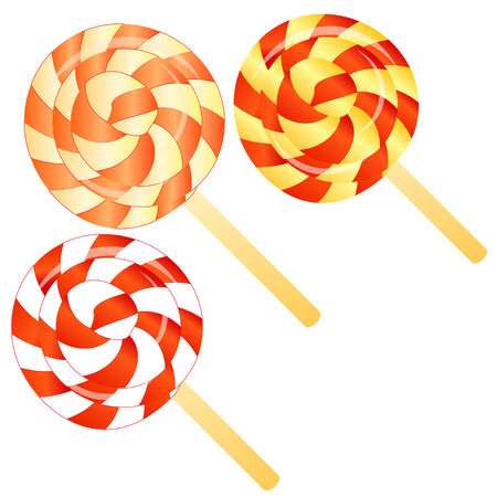 lollypop: three lollipops isolated on the white phone Stock Photo