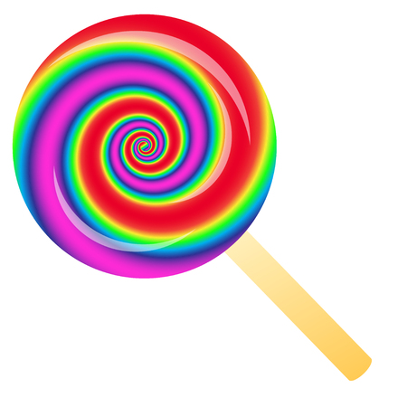 Rainbow lollipop isolated on the white phone