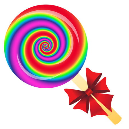 Rainbow Lollipop with bow isolated on the white phone Banco de Imagens