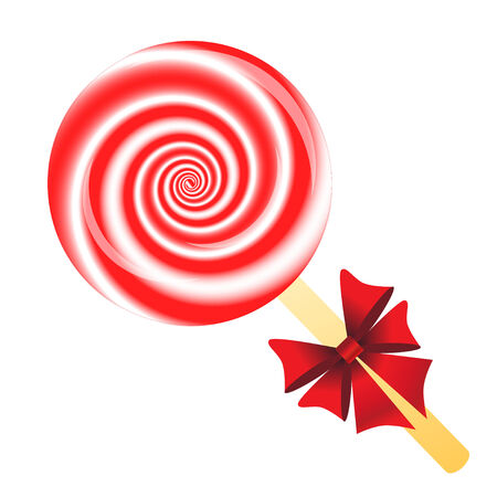 Lollipop with bow isolated on the white phone