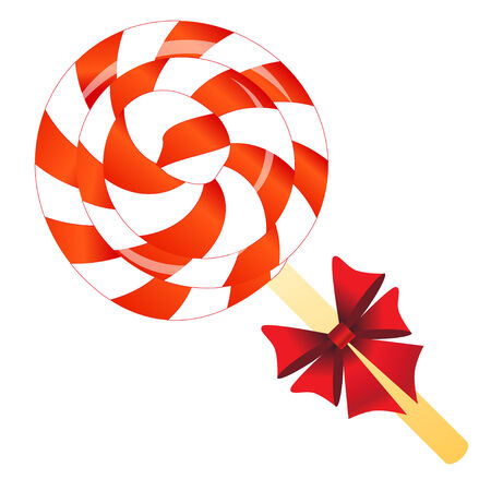 Lollipop with bow isolated on the white phone photo