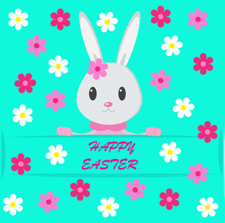 Easter background with bunny on the green phone and flowers photo