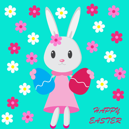 Easter background with bunny, flowers and eggs on the green phone photo