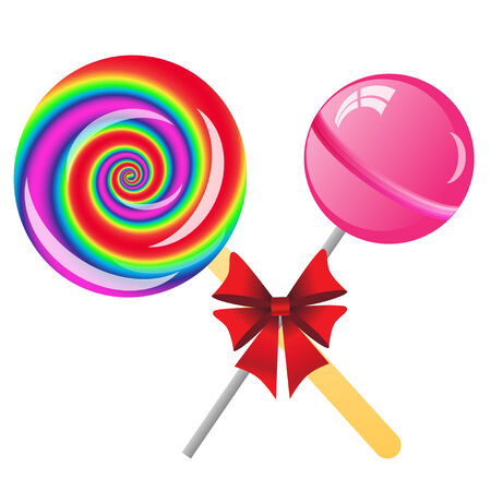 two lollipops with bow isolated on the white phone photo