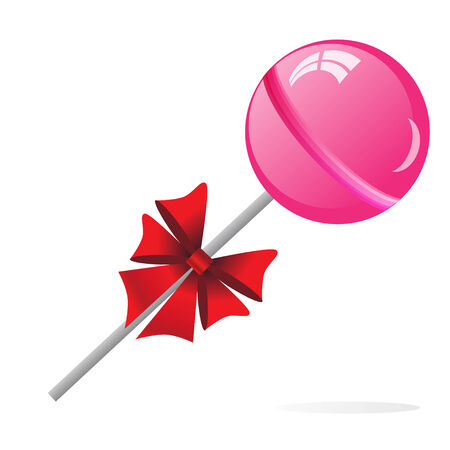 Pink Lollipop with bow isolated on the white phone