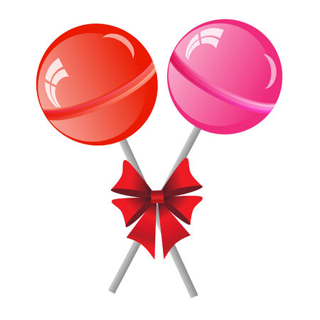 lollypop: two lollipops with bow isolated on the white phone Stock Photo