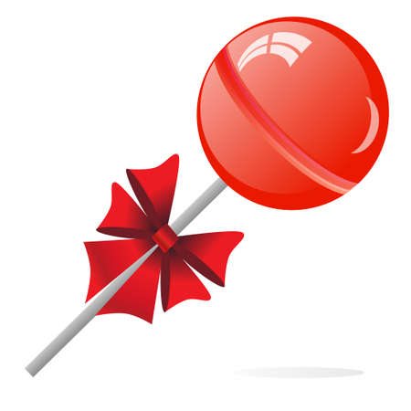 lollypop: Lollipop with bow isolated on the white phone