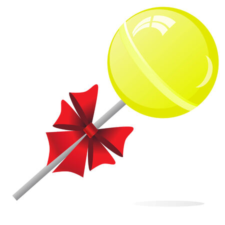 lollypop: Yellow Lollipop with bow isolated on the white phone