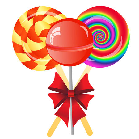 three lollipops with bow isolated on the white phone Banco de Imagens