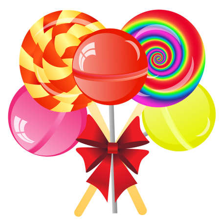 Abstract background with five lollipops on the white phone photo