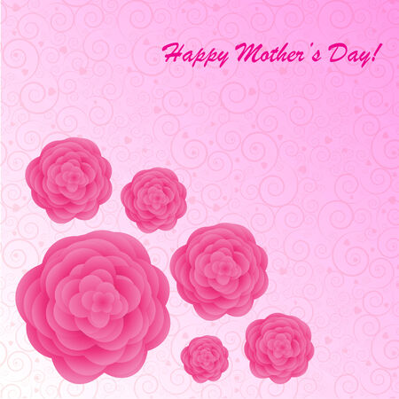 mothers day background: Day background della madre felice con i fiori sul telefono rosa con spirali