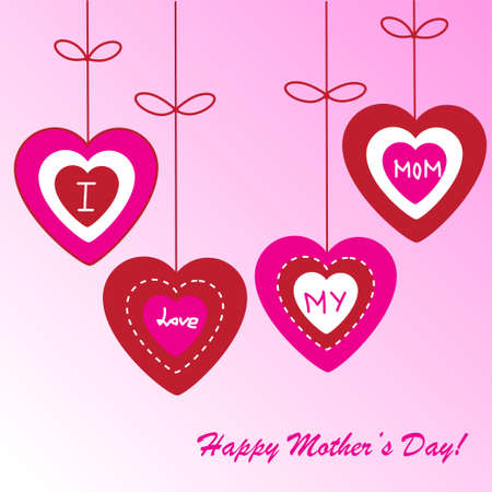 mothers day background: Day background della madre felice con cuori sul telefono rosa Vettoriali