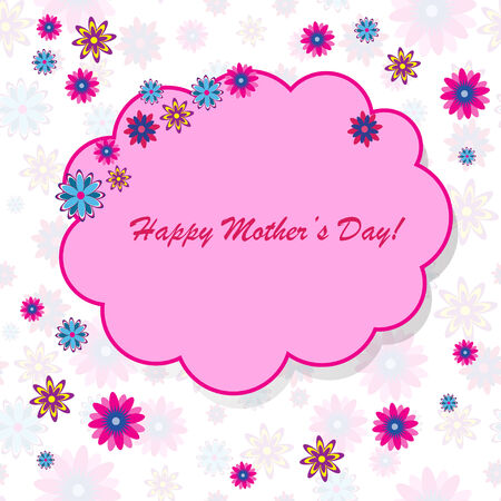 Happy mother's day background with cloud and flowers on the white phone