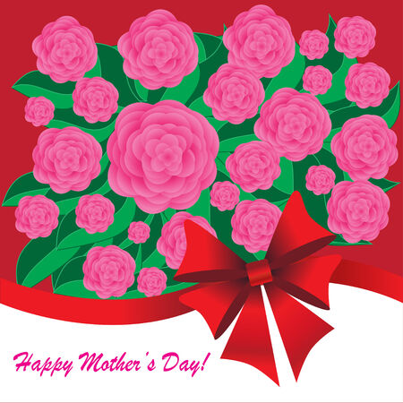 Happy mothers day background with flowers and bow on the pink phone