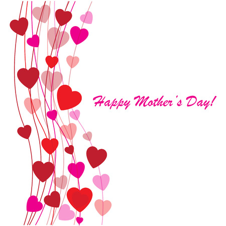 mothers day background: Day background della madre felice con il cuore su il telefono bianco Vettoriali