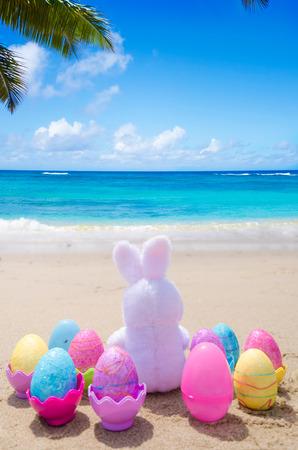 Paashaas en kleur eieren op het strand aan de oceaan