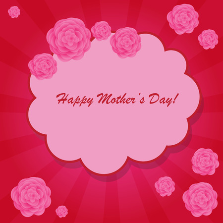 Happy mothers day background with cloud and flowers on the pink phone with rays
