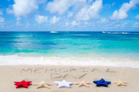 union beach: Memorial day background on the sandy beach near ocean