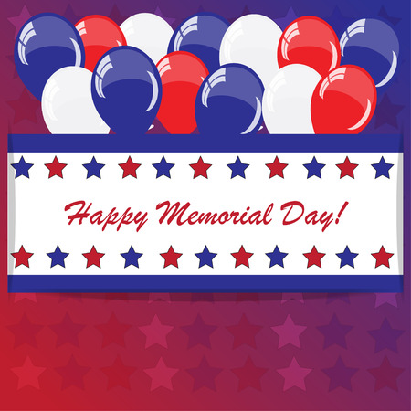 Memorial day with balloons and American flag colors