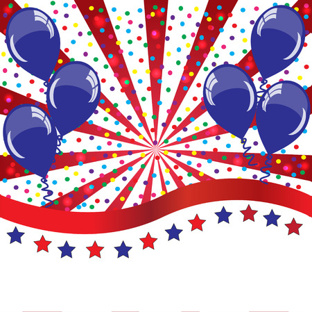 American holidays background with balloons (American flag colors) photo